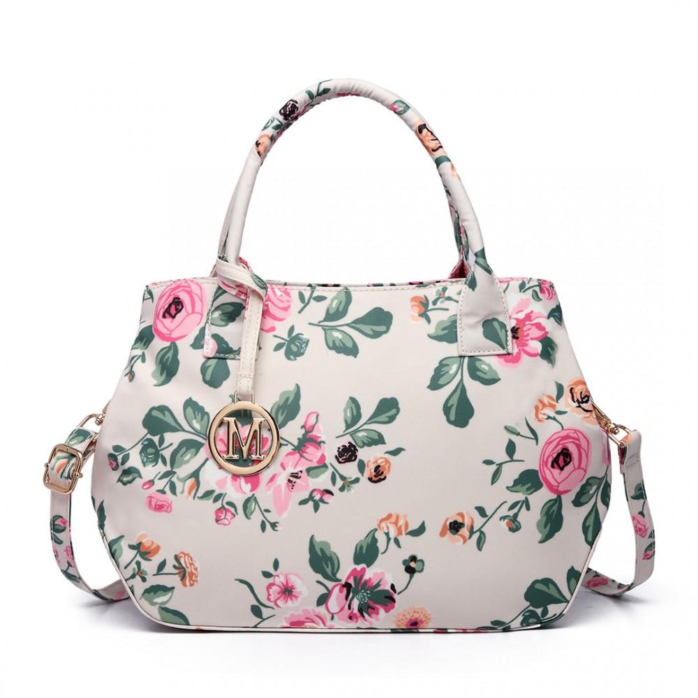 Nadčasová béžová matná kabelka s kvetinami Miss Lulu