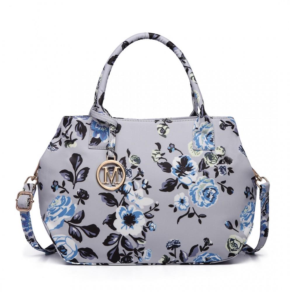 Nadčasová sivá matná kabelka s kvetinami Miss Lulu