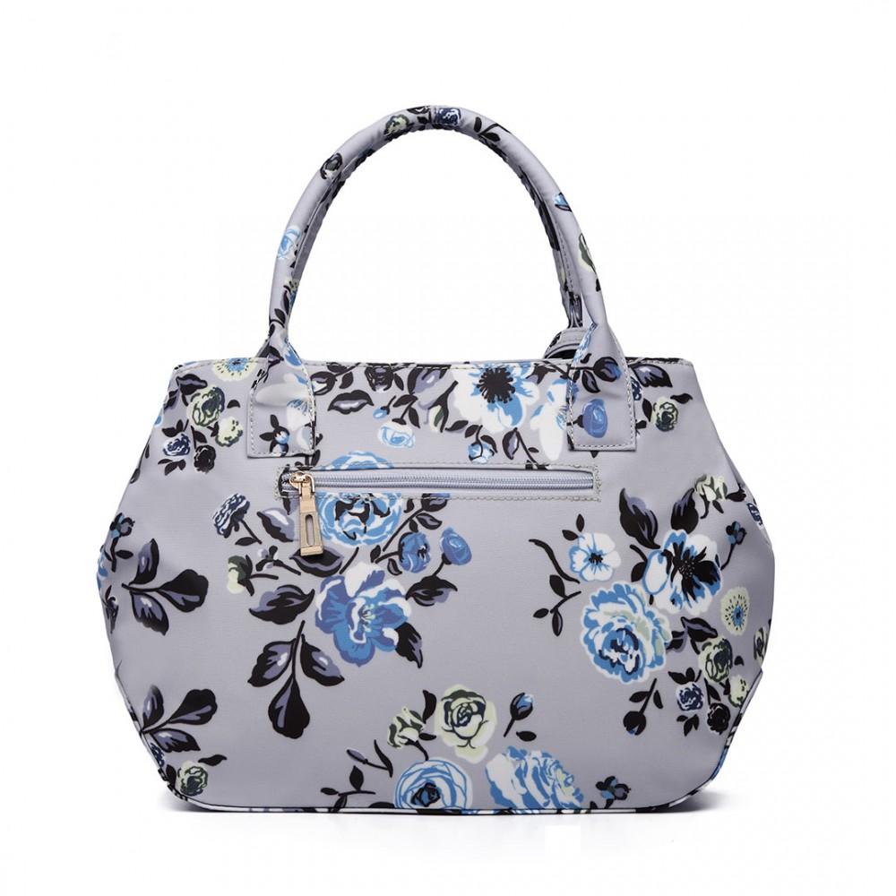Nadčasová šedá matná kabelka s květinami Miss Lulu