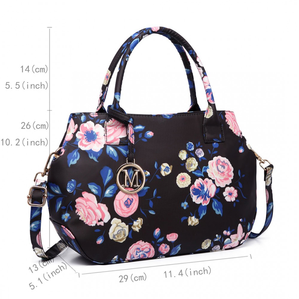 Nadčasová tmavě modrá kabelka s květinami Miss Lulu