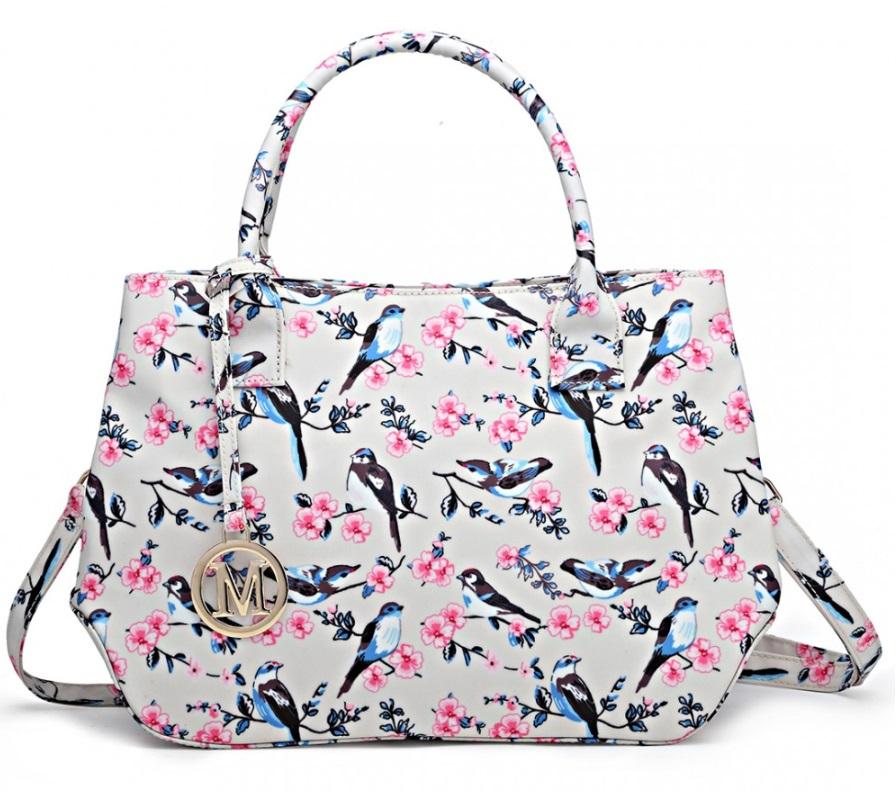 Nadčasová béžová kabelka s vtáčikmi Miss Lulu