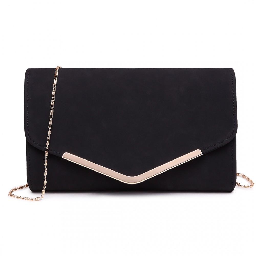 Matná čierna dámska listová kabelka Miss Lulu