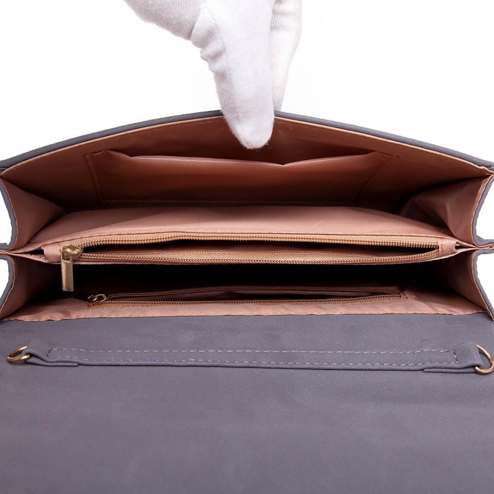 Sivá dámska listová kabelka Miss Lulu