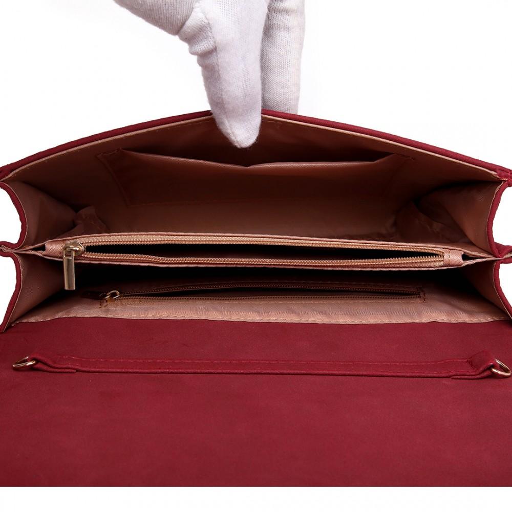 Matná červená dámska listová kabelka Miss Lulu