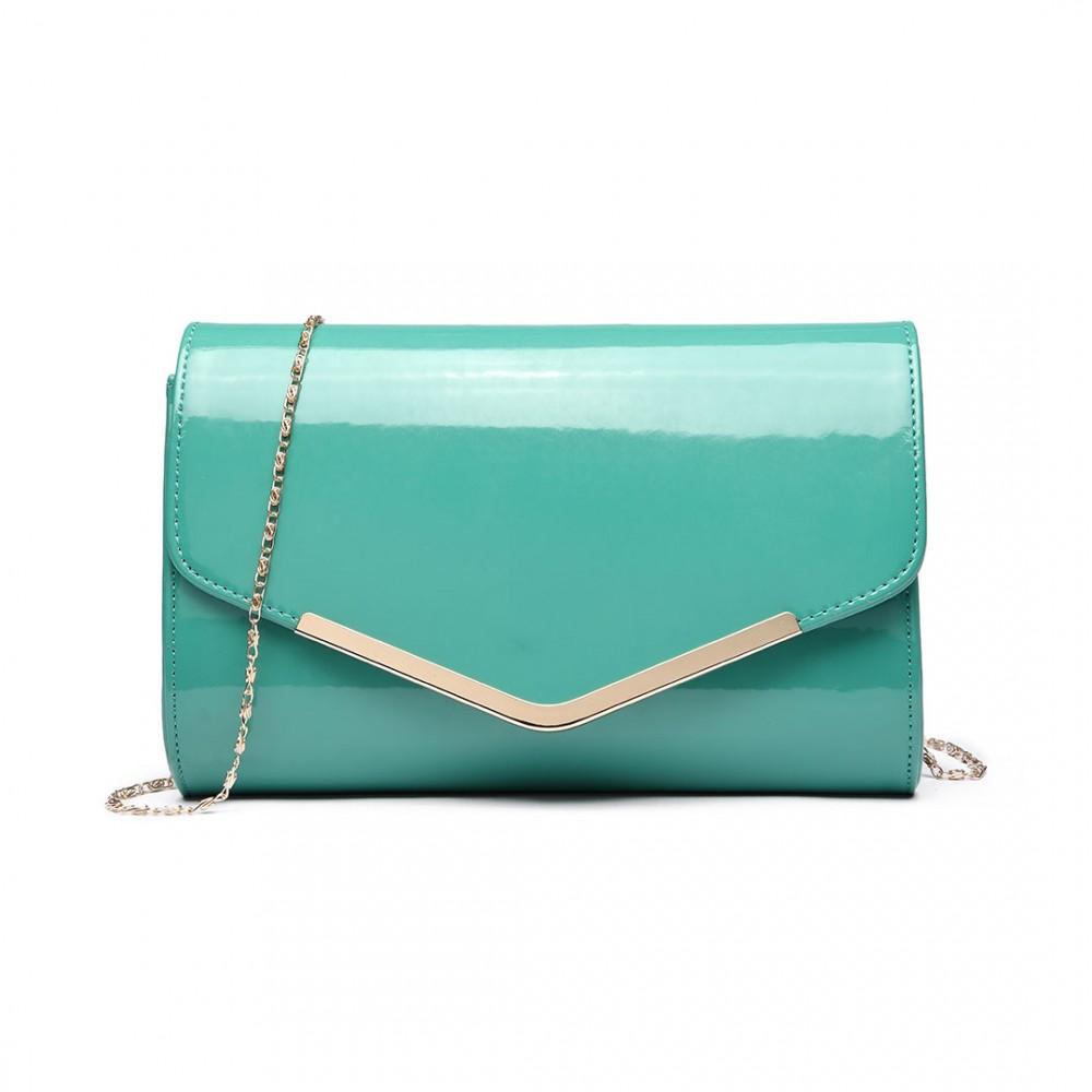 Dámska elegantná listová kabelka Miss Lulu tyrkysový lak empty fe531942184