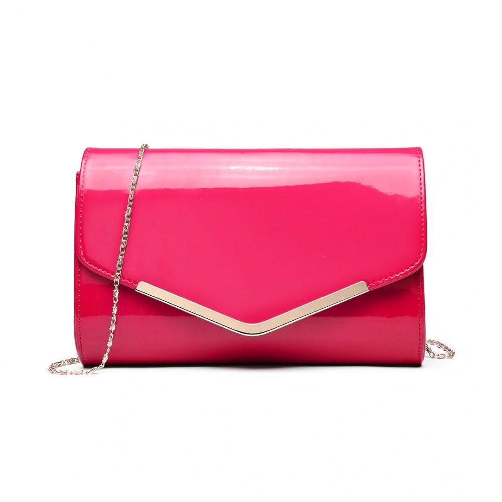 Dámska elegantná listová kabelka Miss Lulu ružový lak