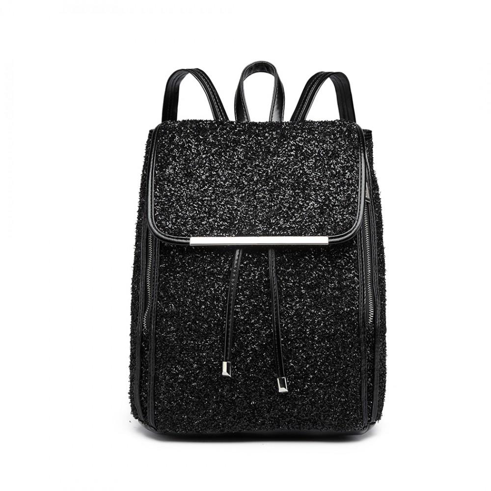 Čierny dámsky trblietavý batôžtek Miss Lulu