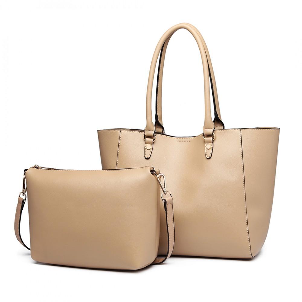 34405f61d Praktický béžový dámský kabelkový set 2v1 Miss Lulu | A-kabelka.eu