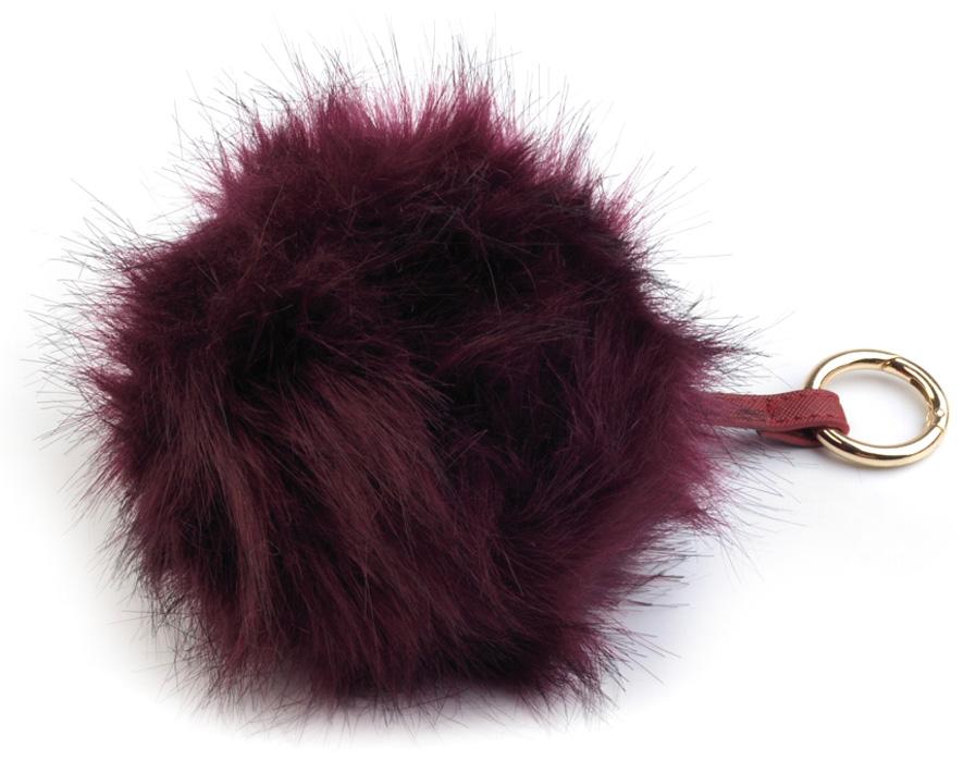 Bordová kožušinová brmbolce z líšky - ozdoba na kabelku