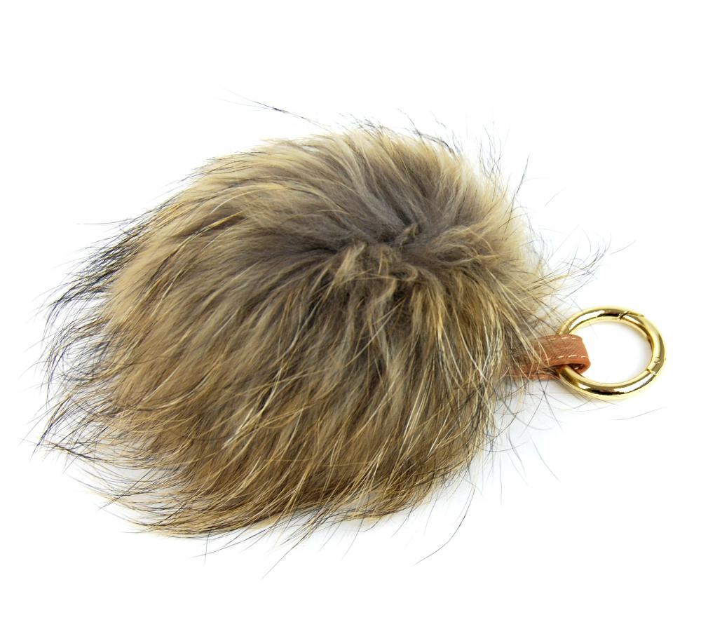 Sivá kožušinová brmbolce z líšky - ozdoba na kabelku