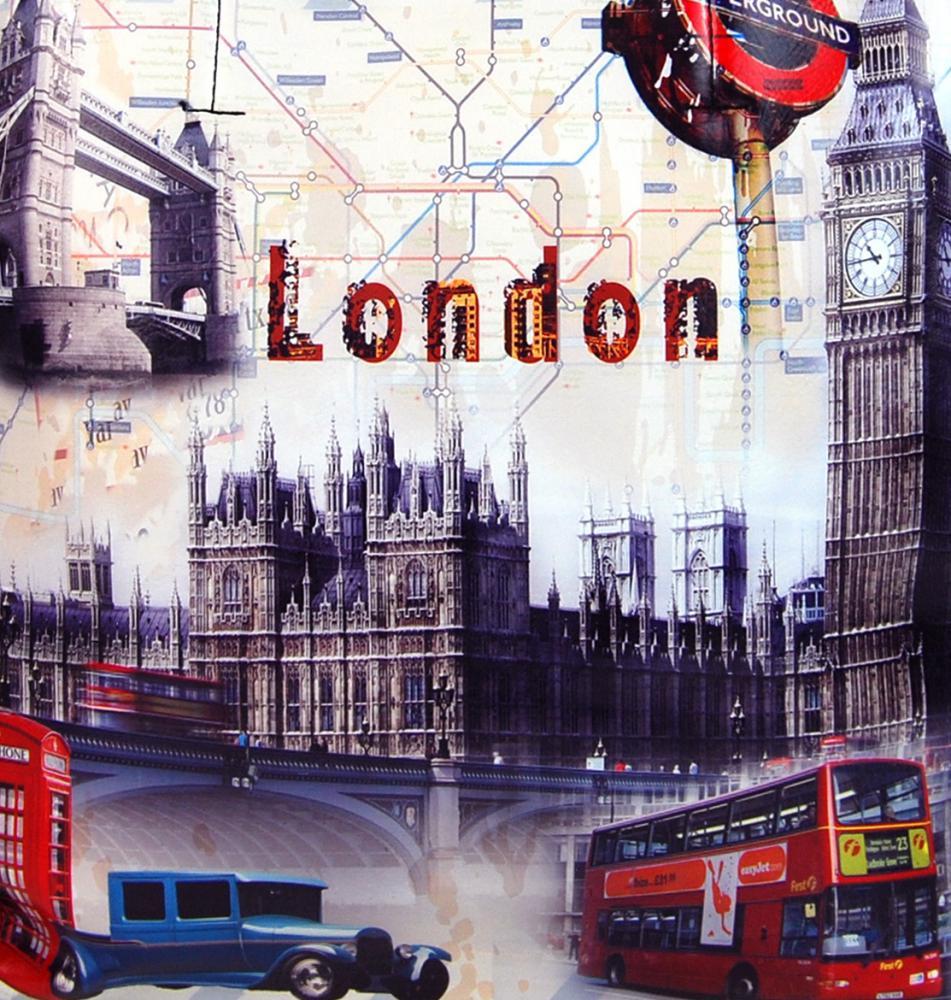Dámska kabelka na rameno s motívom Londýna 60694 zelená