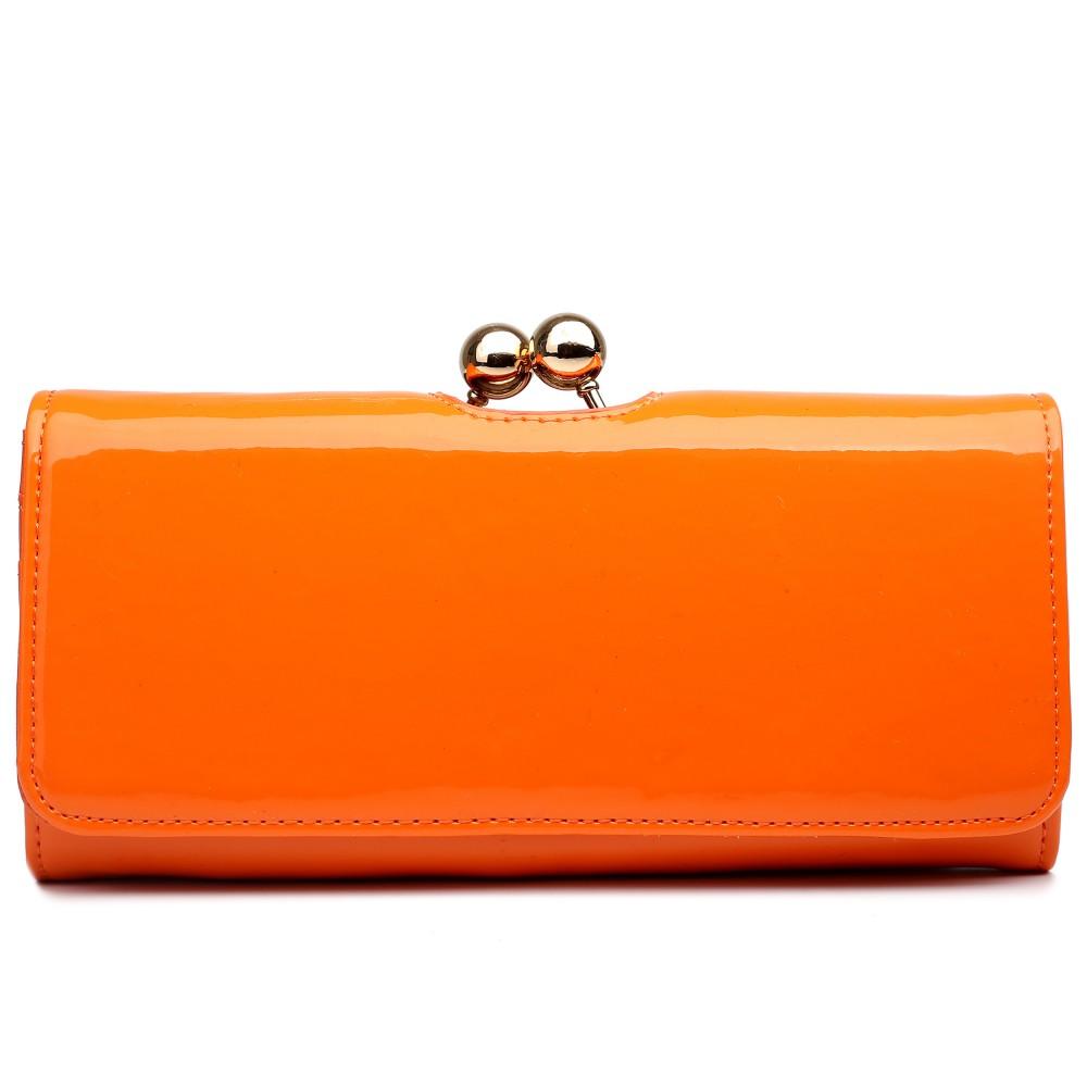Módna dámska peňaženka oranžová lakovaná Miss Lulu
