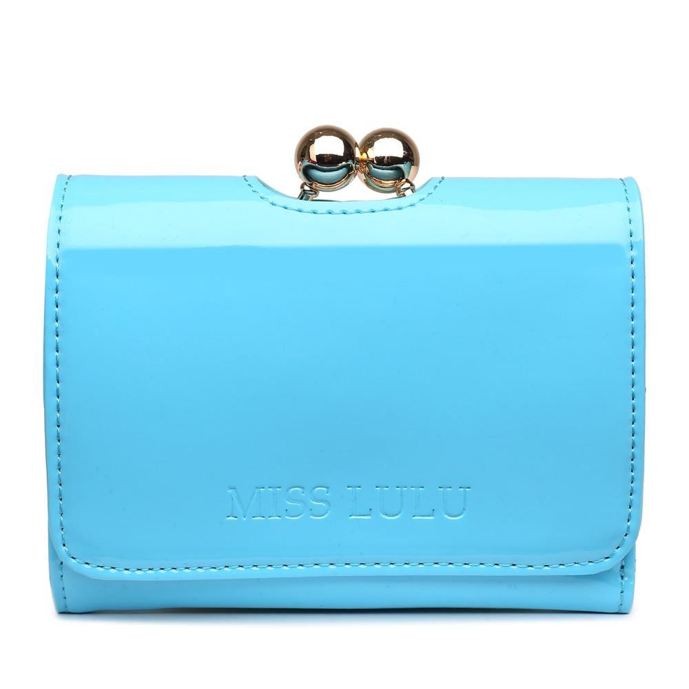 Módní dámská peněženka světle modrý lak Miss Lulu