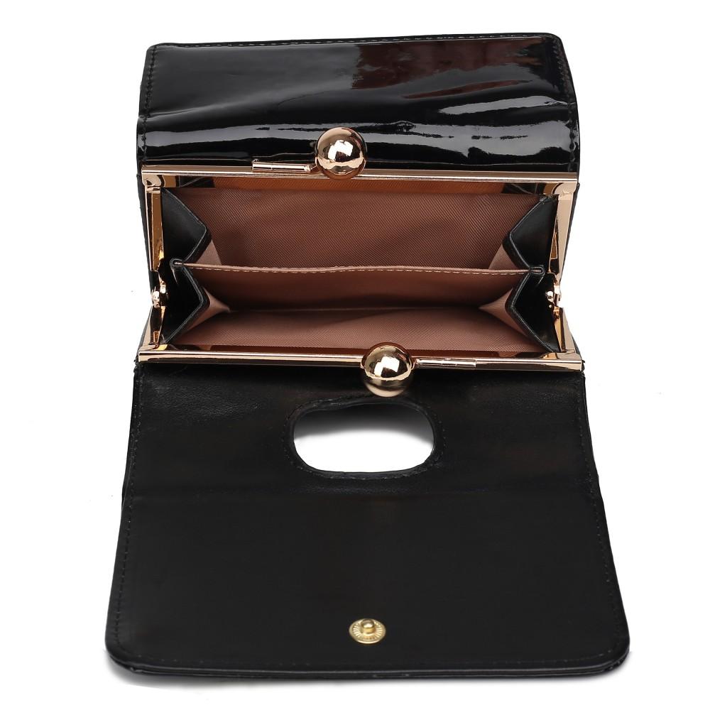 Módní dámská peněženka černý lak Miss Lulu