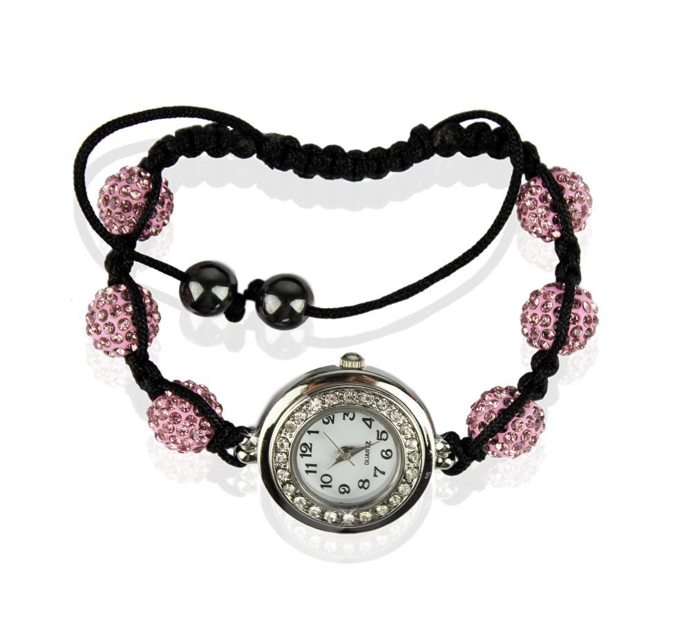 Náramok s hodinkami Shamballa LSB 0018 ružový