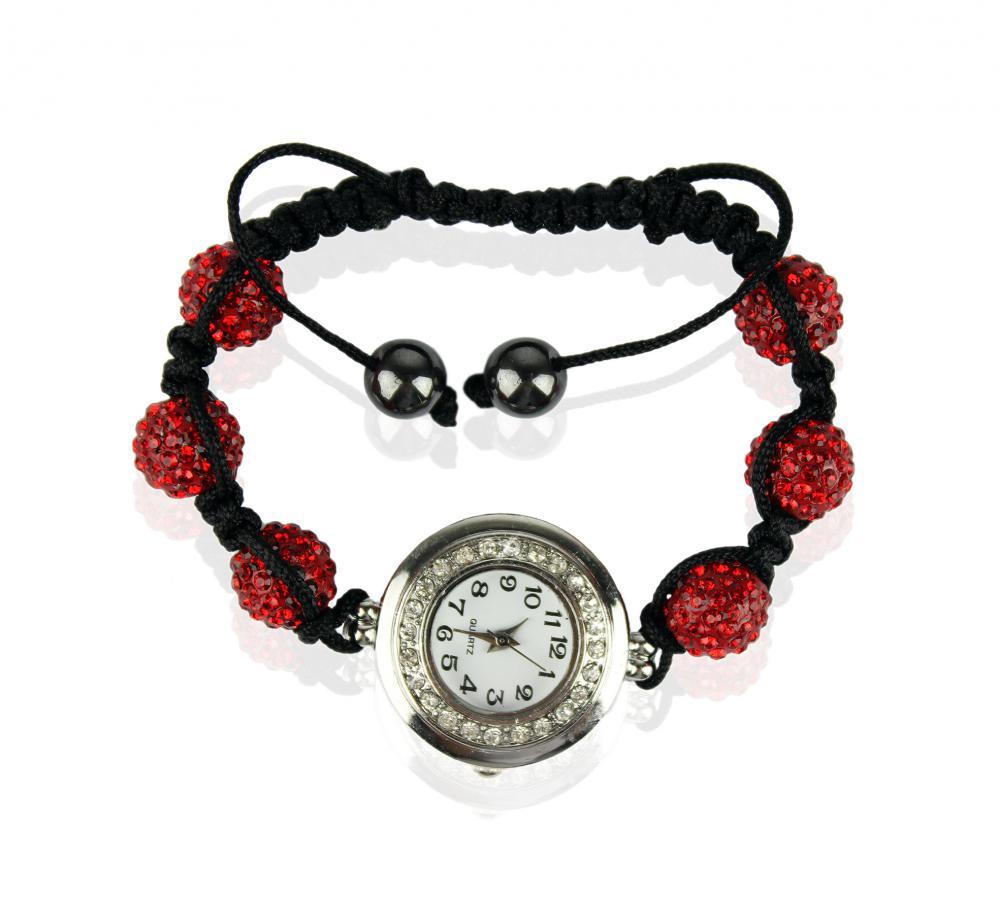 Náramok s hodinkami Shamballa LSB 0018 červený