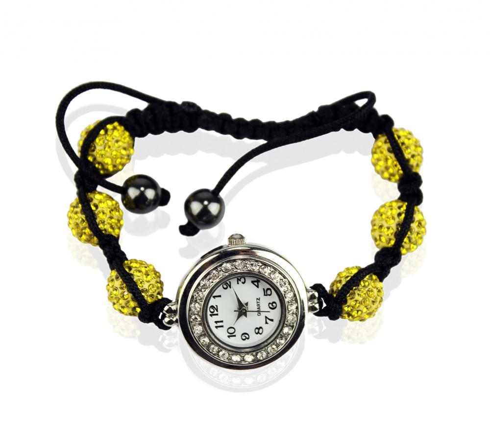 Náramok s hodinkami Shamballa LSB 0018 žltý