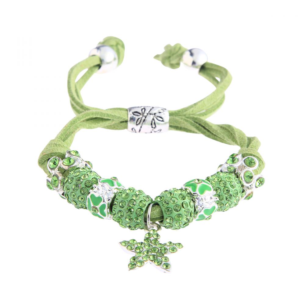 Shamballa zelený náramok s hviezdou LS Fashion LSB0037