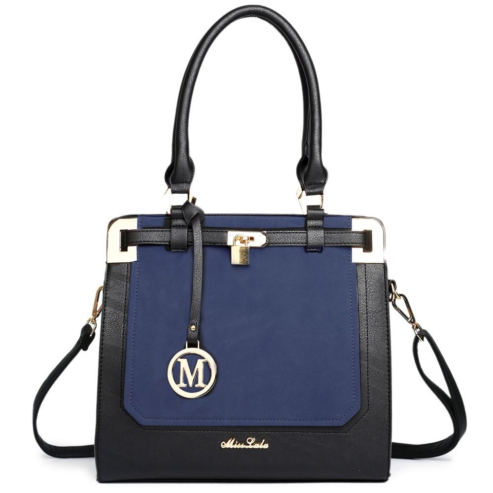 Moderná modro-čierna kabelka s visiacim zámkom Miss Lulu