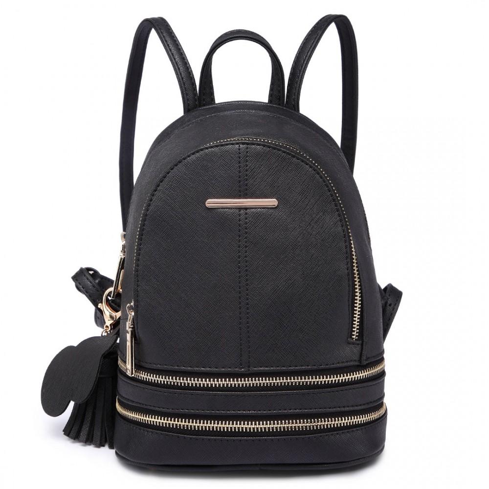 Roztomilý dizajnový čierny dámský batôžtek Miss Lulu