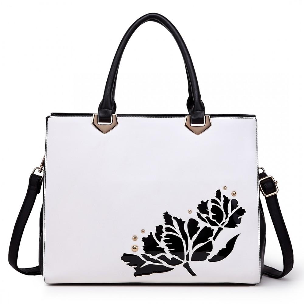 Elegantná čiernobiela dámska kabelka do ruky aj cez rameno Miss Lulu