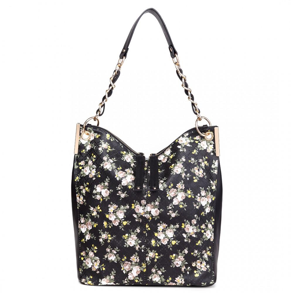 Veľká čierna kabelka cez rameno v motíve kvetín Miss Lulu
