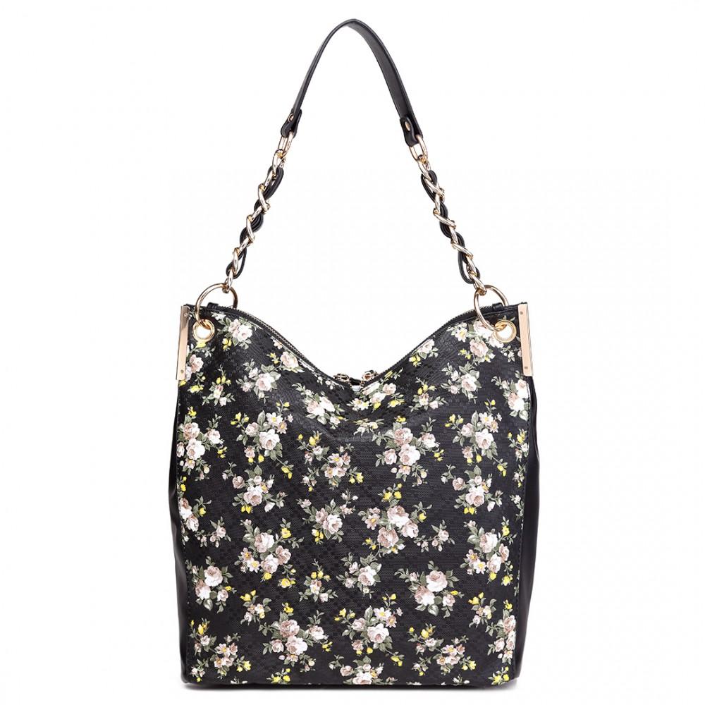 Velká černá kabelka přes rameno v motivu květin Miss Lulu