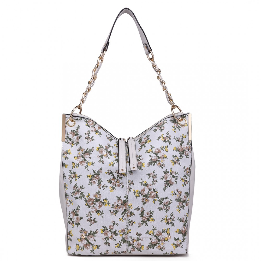 Velká světle šedá kabelka přes rameno v motivu květin Miss Lulu