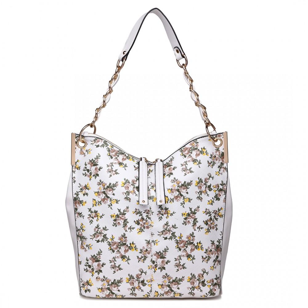 Veľká biela kabelka cez rameno v motíve kvetín Miss Lulu
