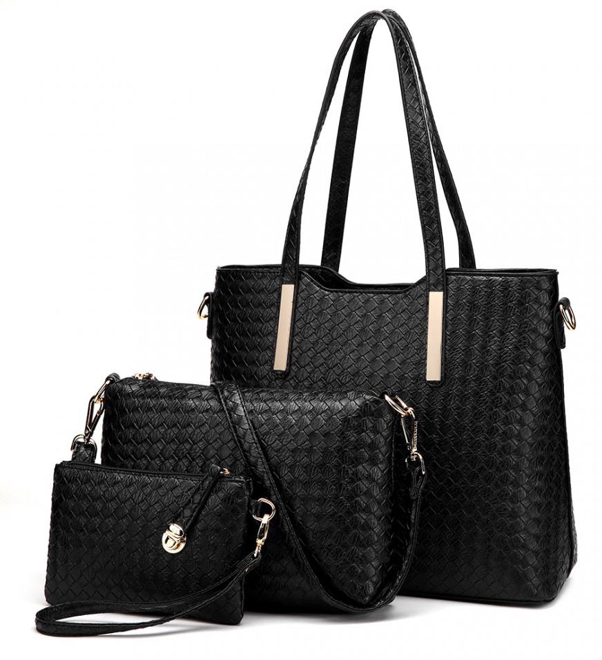 Praktický lakovaný dámsky kabelkový set 3v1 Miss Lulu čierna