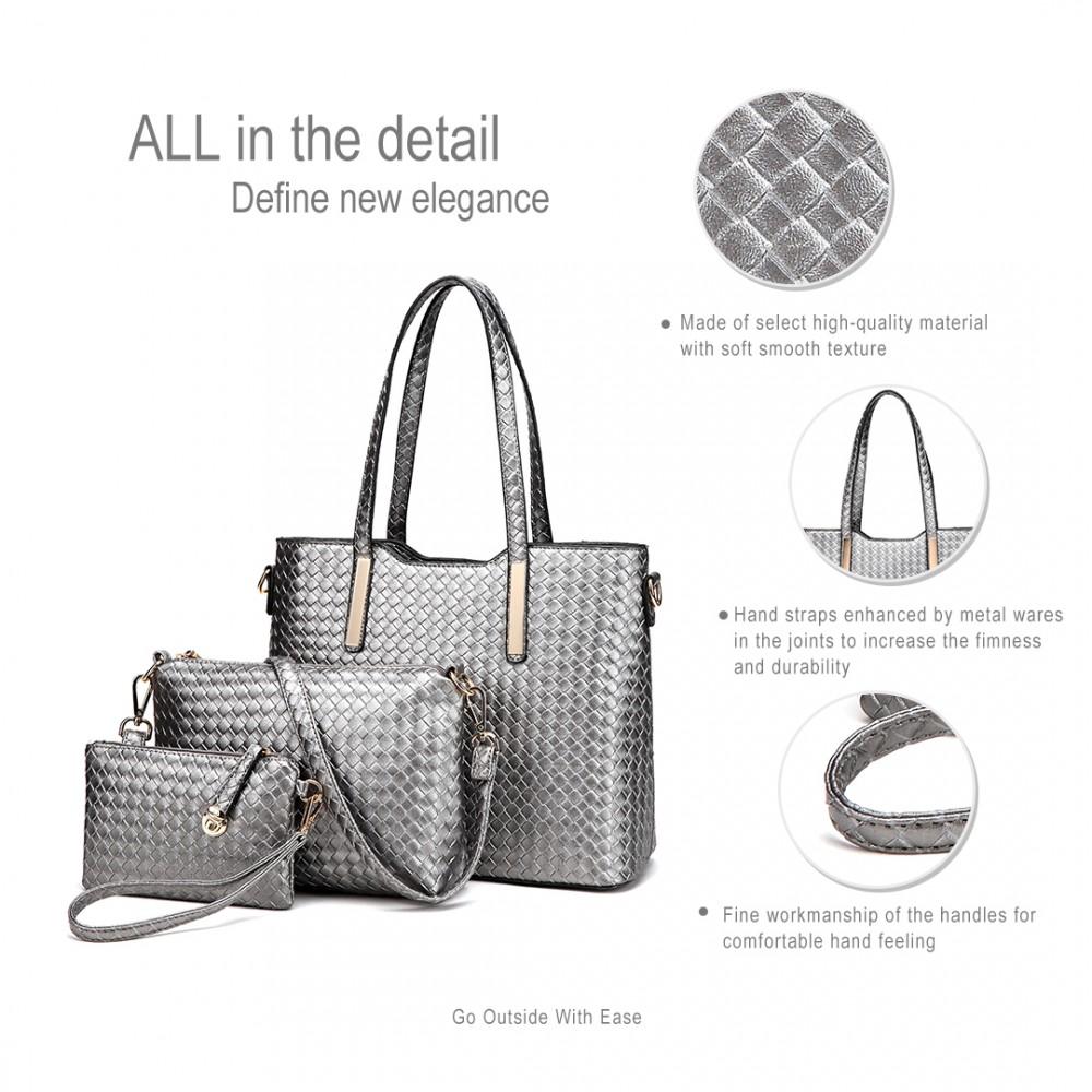 Praktický lakovaný dámský kabelkový set 3v1 Miss Lulu šedá