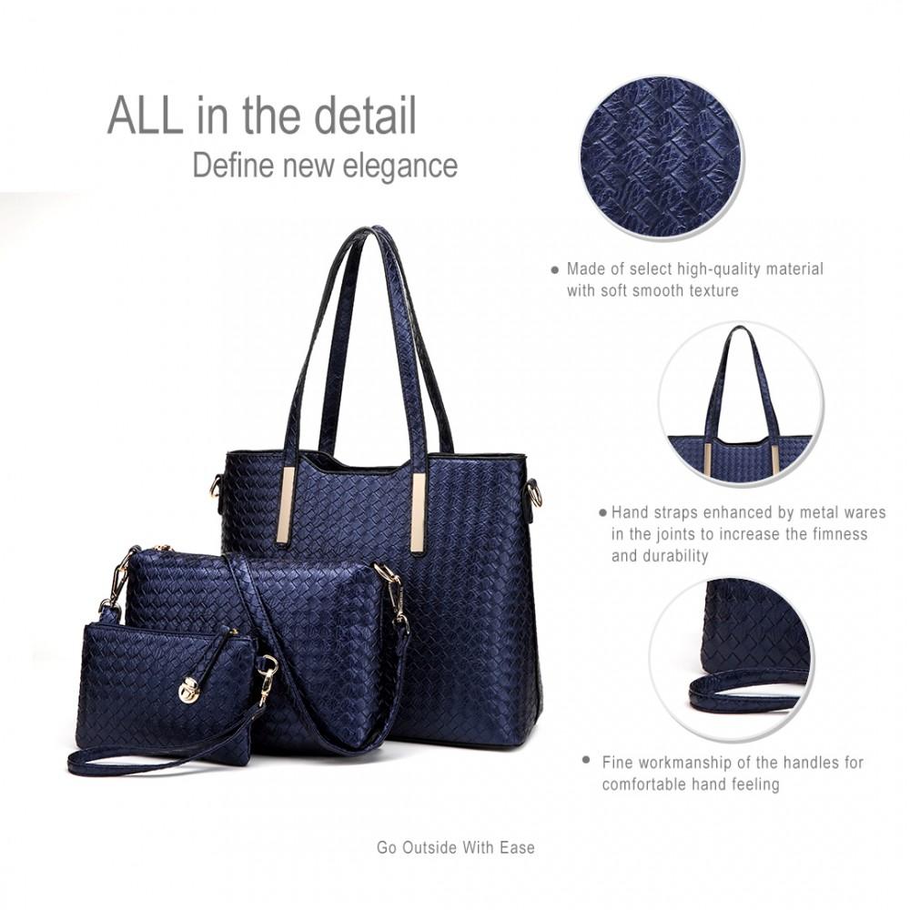 Praktický lakovaný dámský kabelkový set 3v1 Miss Lulu modrá