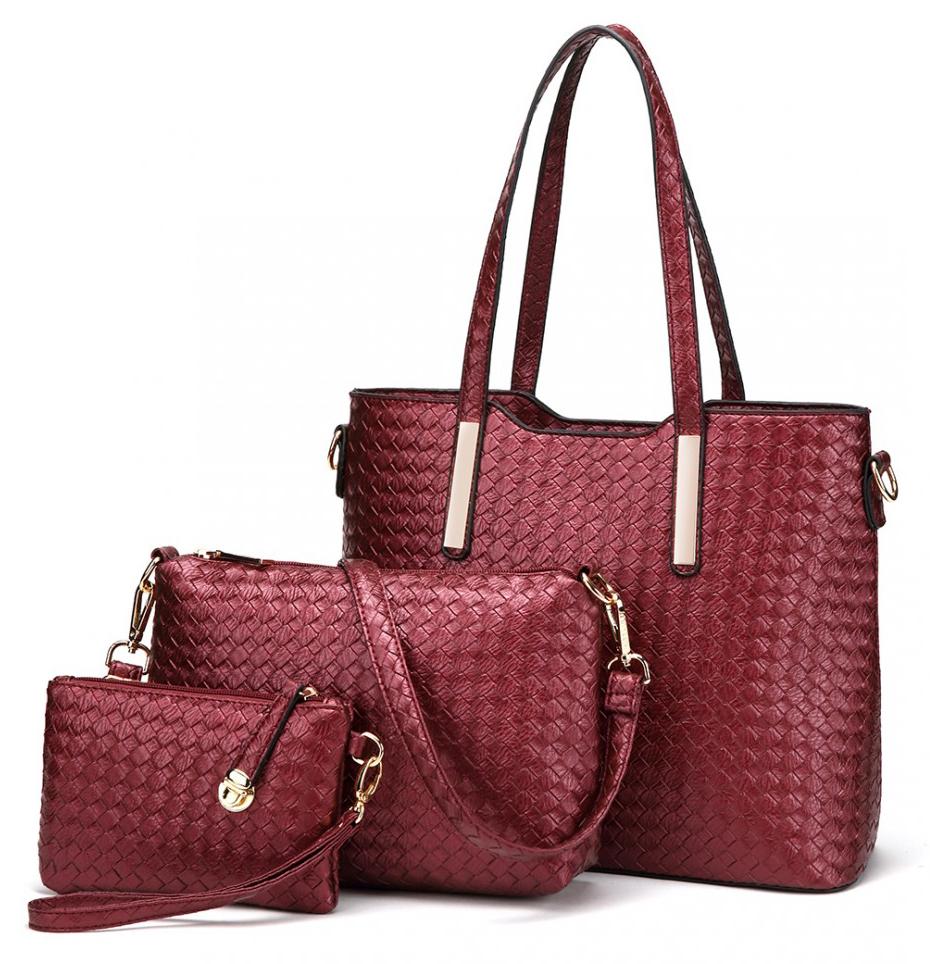 Praktický lakovaný dámsky kabelkový set 3v1 Miss Lulu červená
