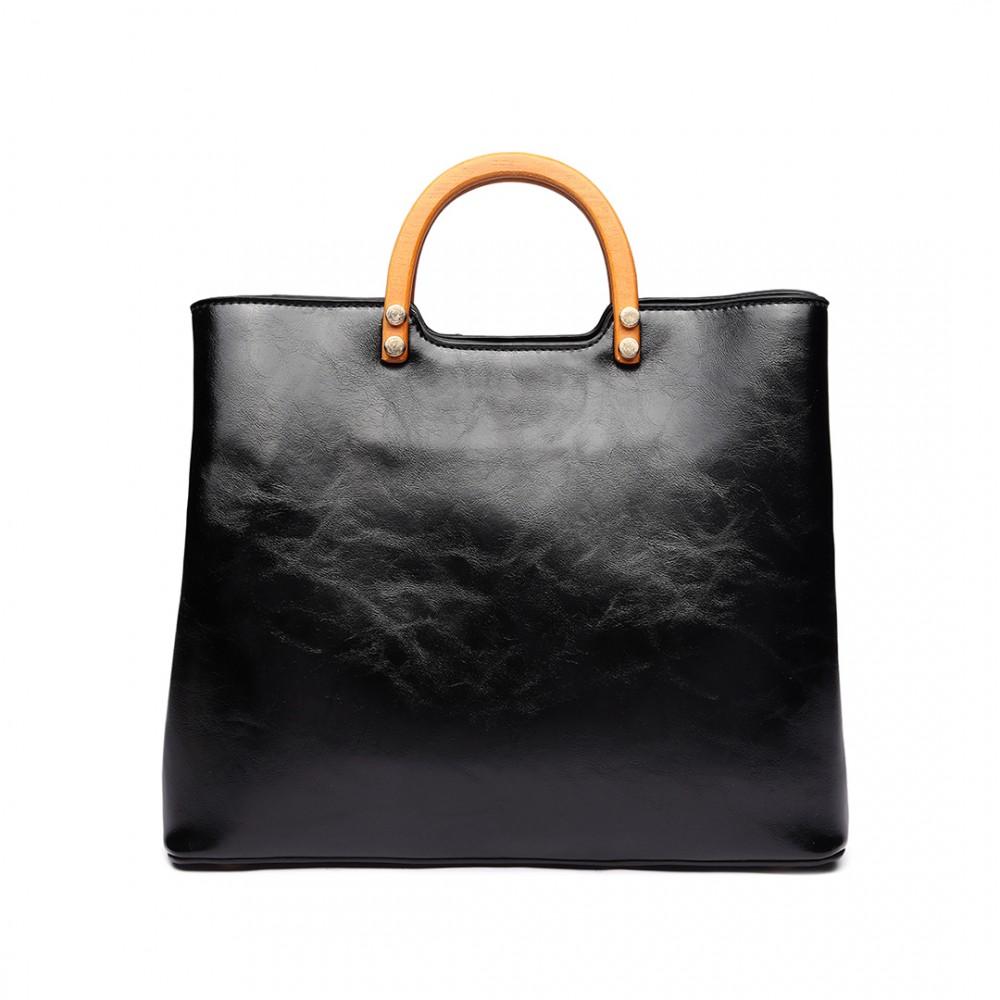 Čierna moderná kabelka sa drevenými uchami Miss Lulu