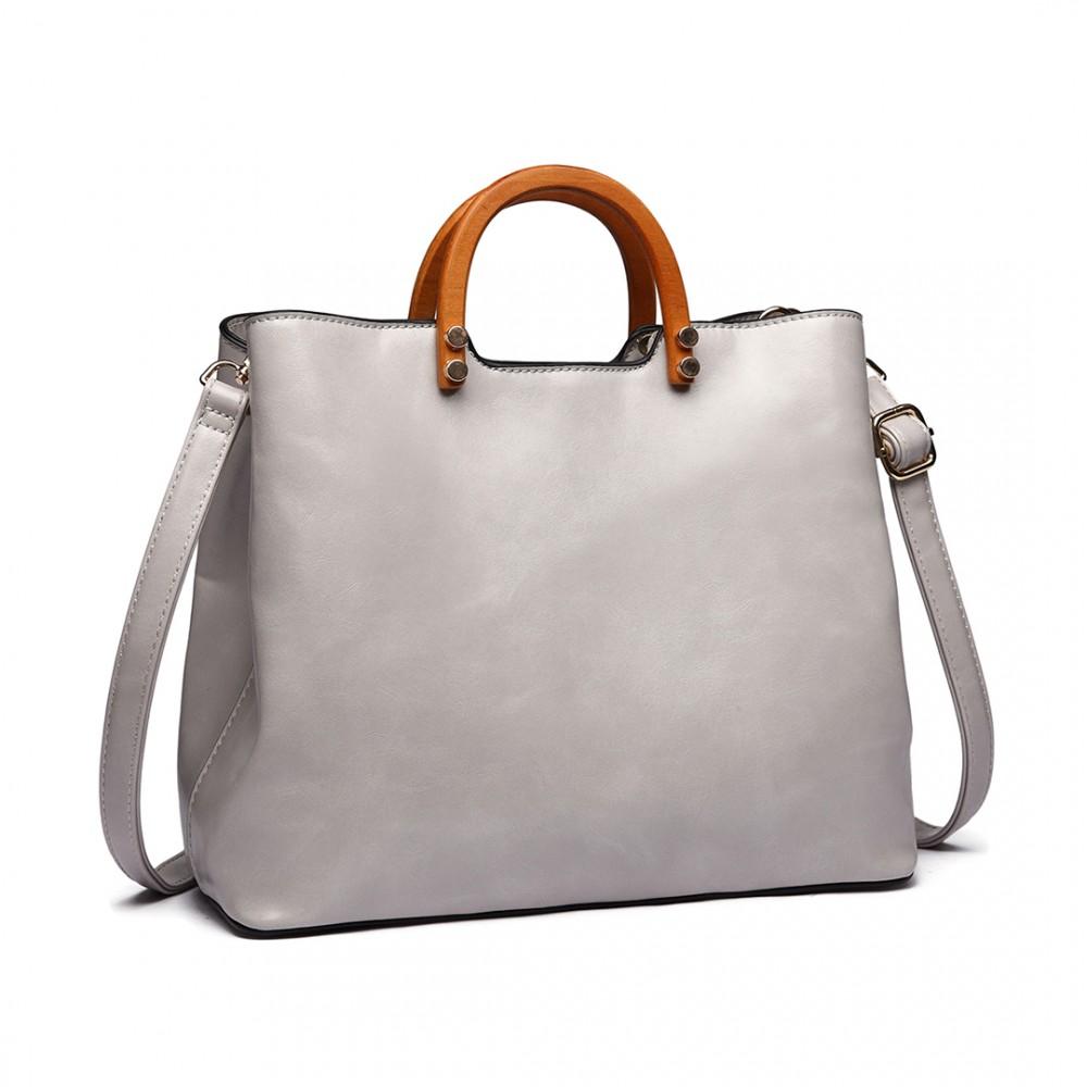 Svetlo sivá moderná kabelka sa drevenými uchami Miss Lulu