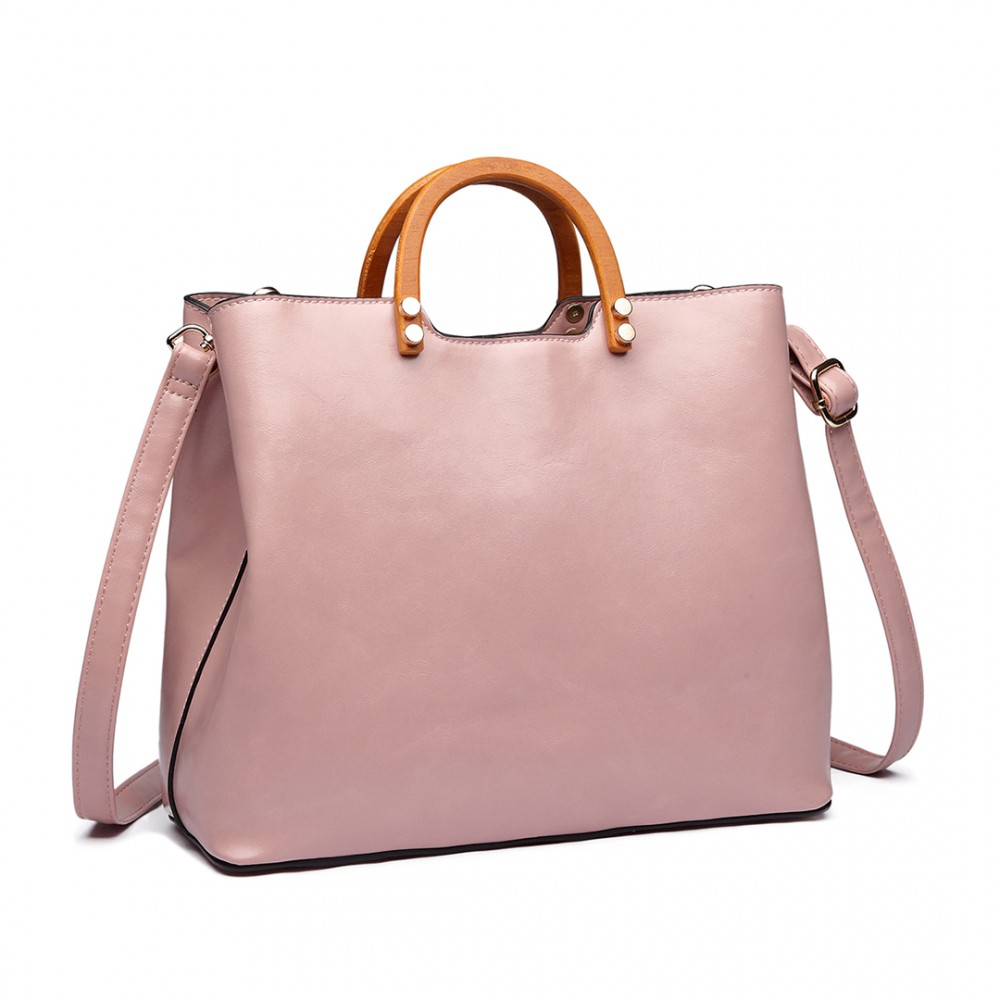 Miss Lulu LU-LT1808 Moderná kabelka sa drevenými uchami - Ružová