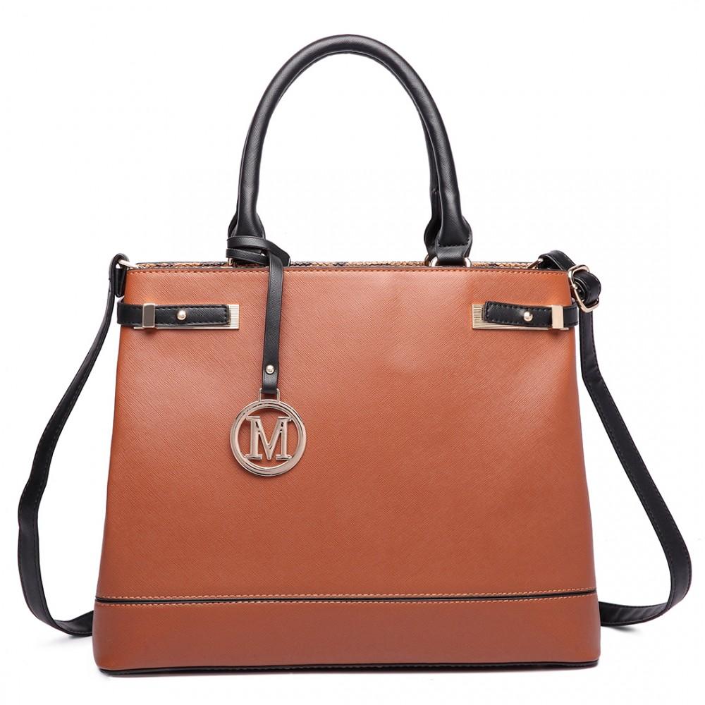 Hnedá moderná business kabelka Miss Lulu  72cbc79b1d0