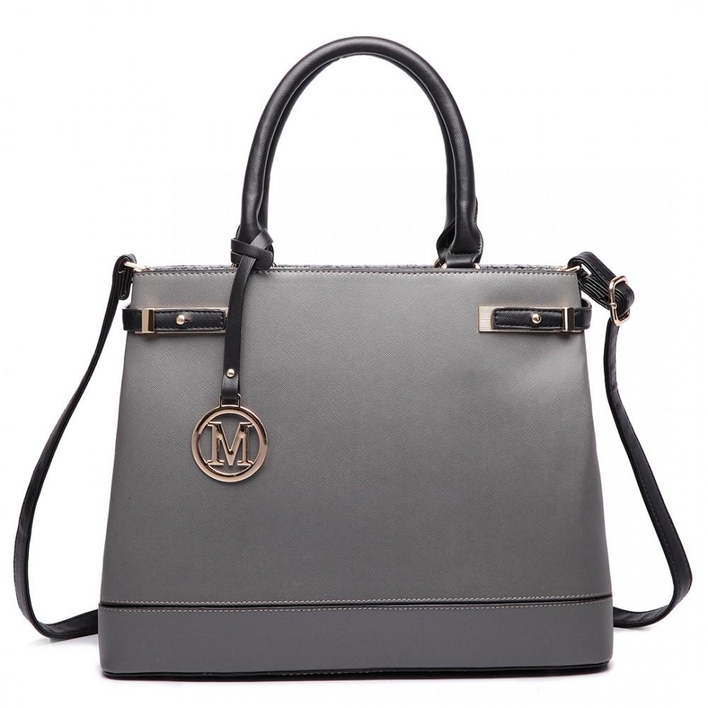 Sivá moderná business kabelka Miss Lulu