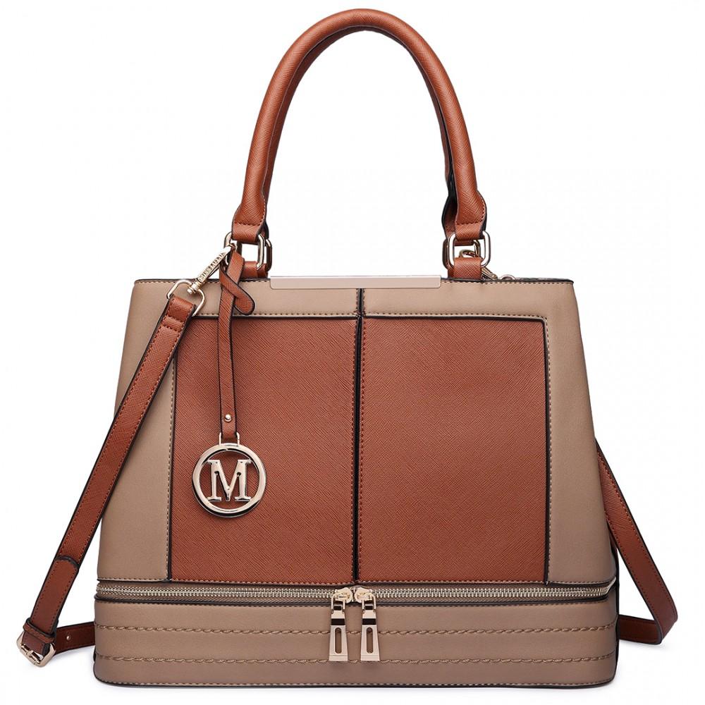 Moderná hnedá kabelka s čelnými zipsami Miss Lulu