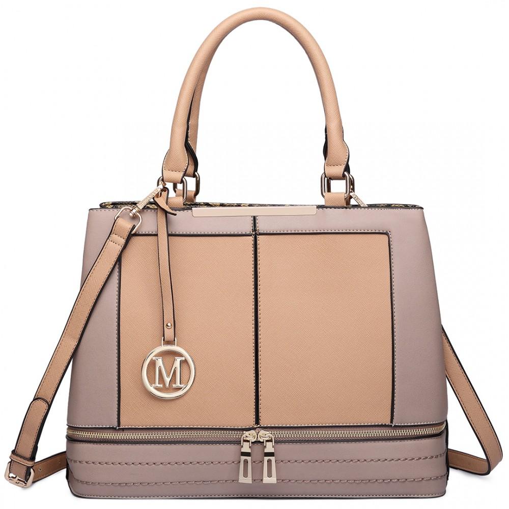 Moderná béžová kabelka s čelnými zipsami Miss Lulu