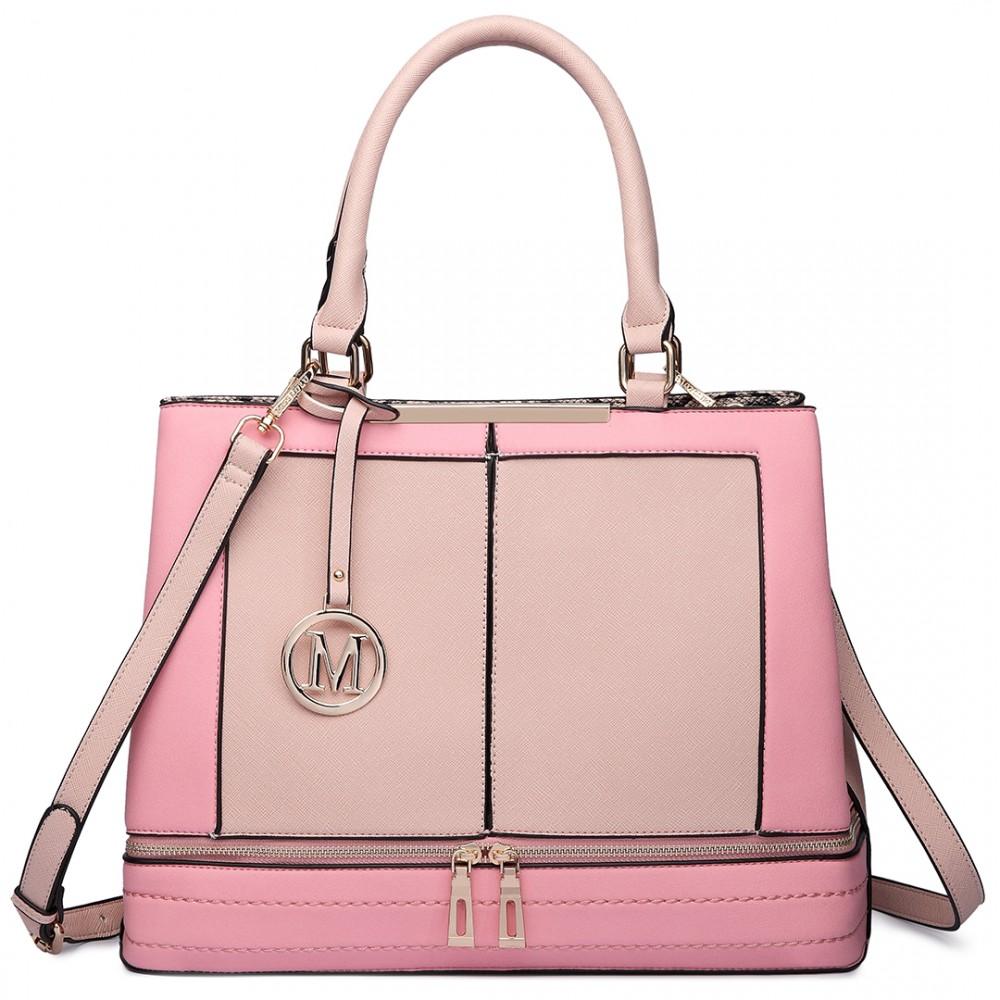 Moderní růžová kabelka s čelními zipy Miss Lulu