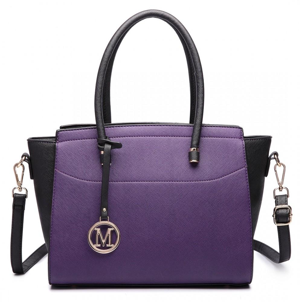 Moderná fialová/čierna kabelka Miss Lulu