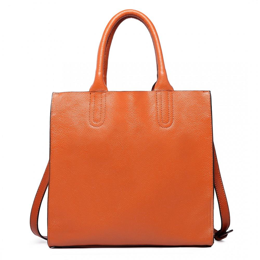 Módna hnedá dámska kabelka z pravej kože Miss Lulu