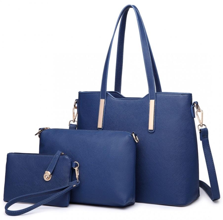 Praktický dámsky kabelkový set 3v1 Miss Lulu modrá