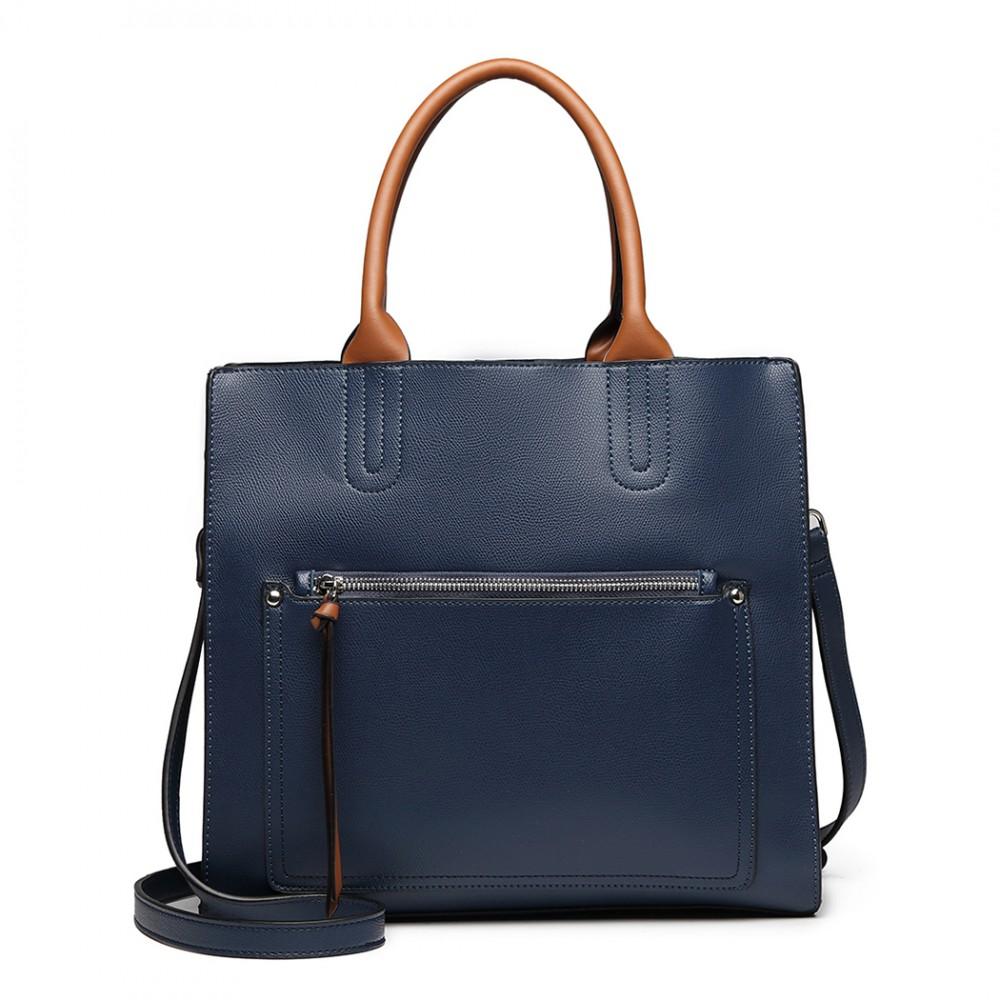 Modrá dámská elegantní kabelka Miss Lulu s čelní kapsou