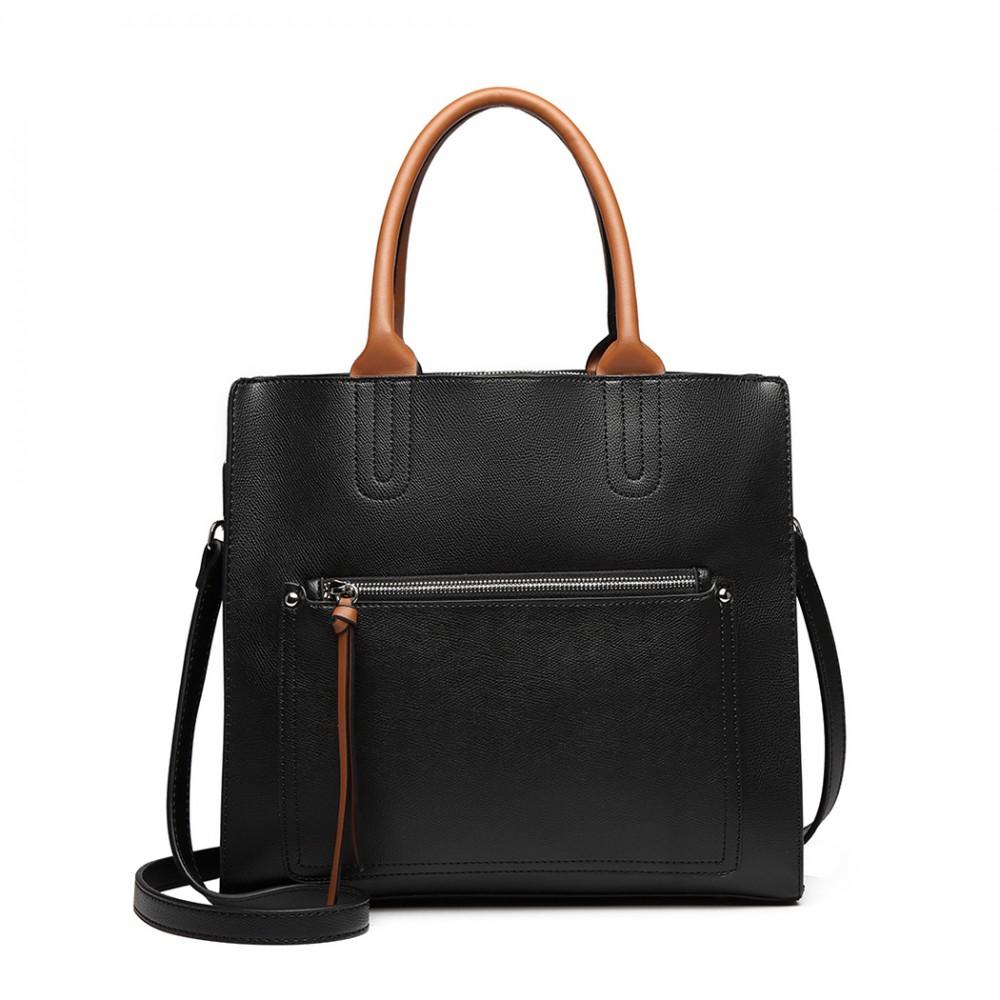 Černá dámská elegantní kabelka Miss Lulu s čelní kapsou