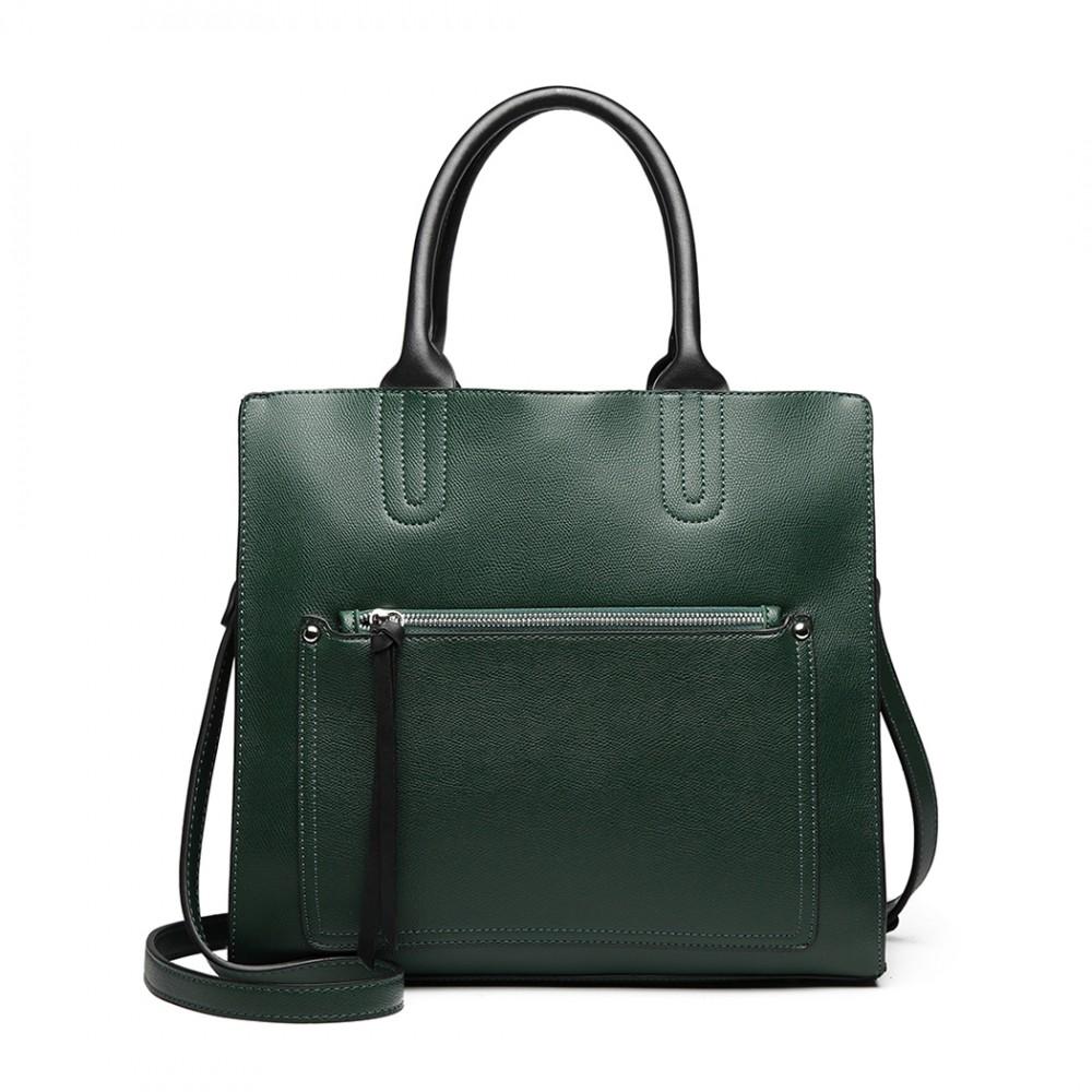 Zelená dámská elegantní kabelka Miss Lulu s čelní kapsou