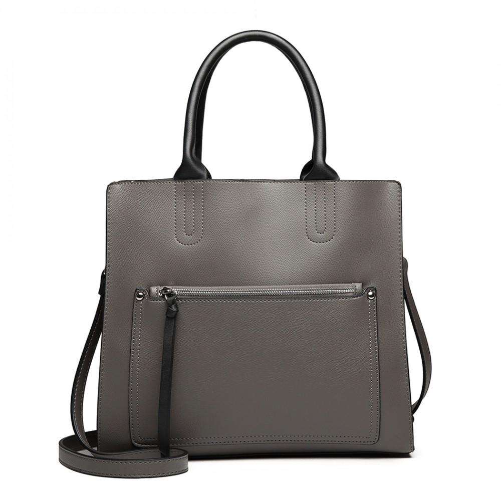 Šedá dámská elegantní kabelka Miss Lulu s čelní kapsou