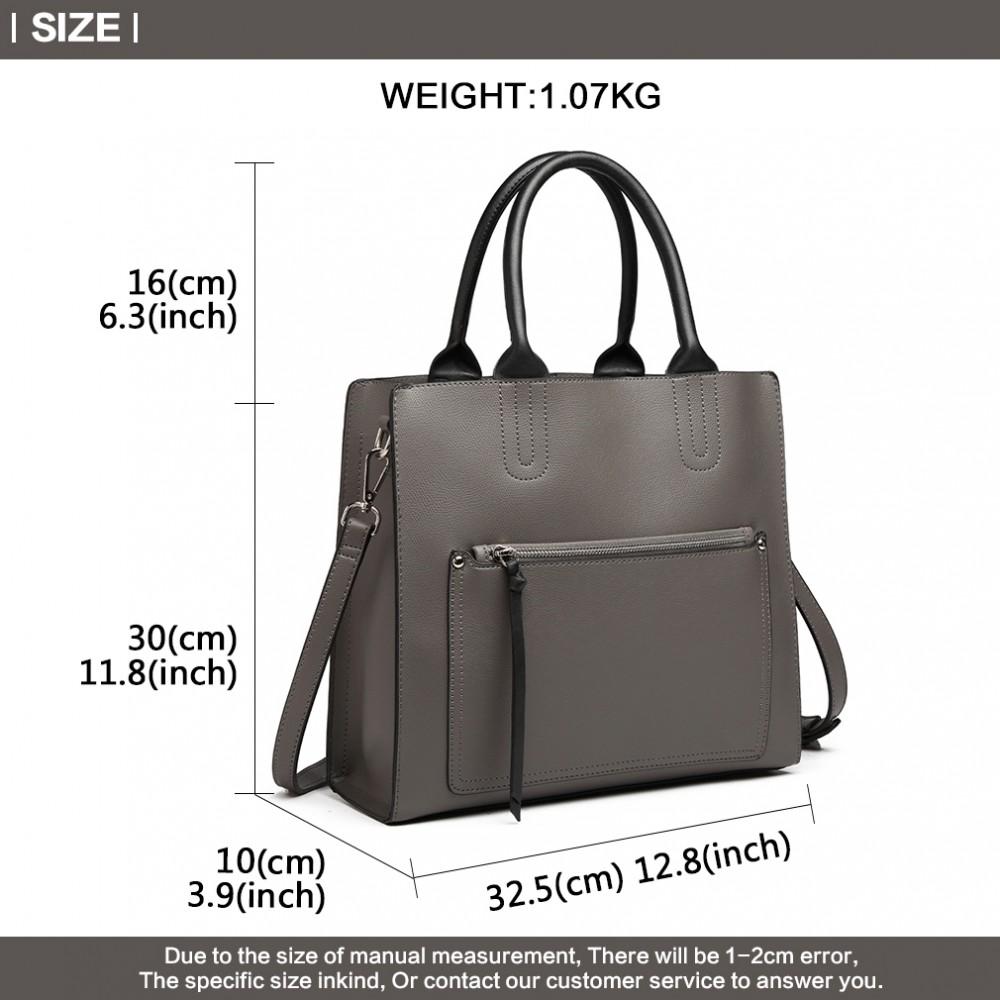 Sivá dámska elegantná kabelka Miss Lulu s čelným vreckom