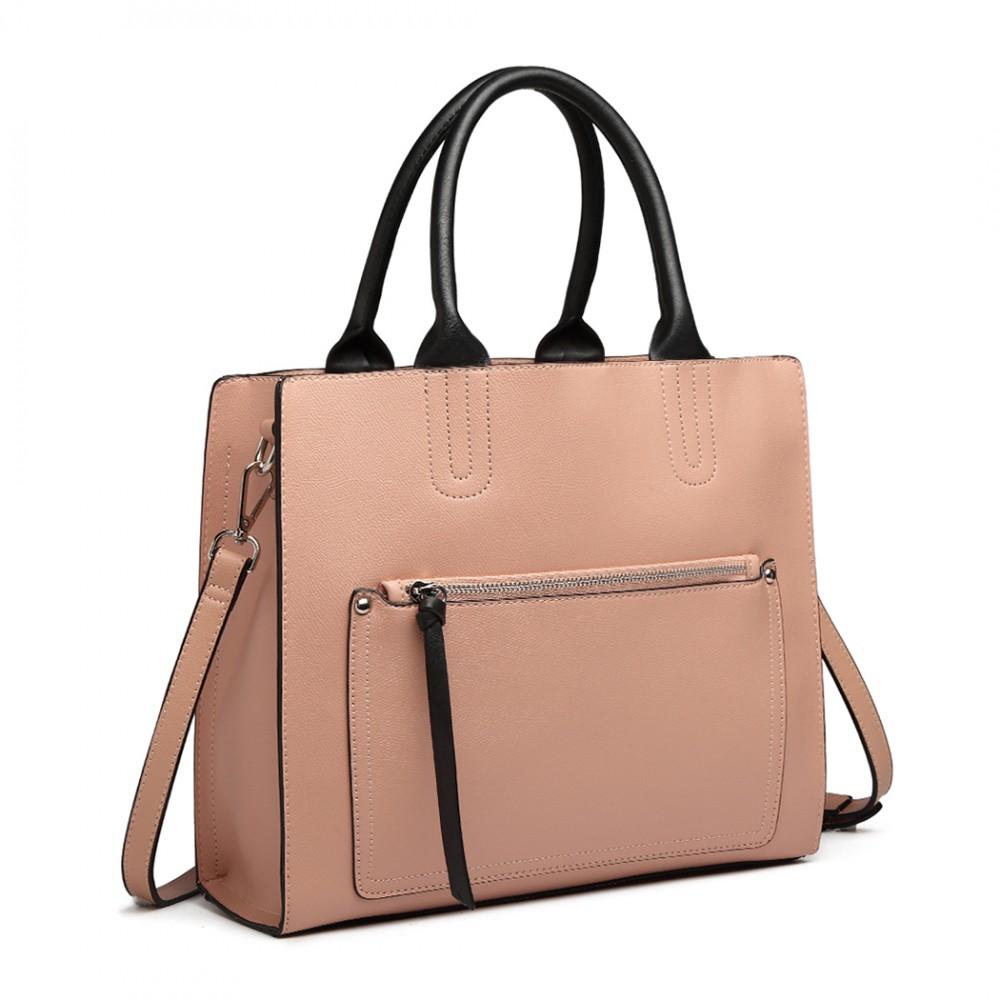Ružová dámska elegantná kabelka Miss Lulu s čelným vreckom